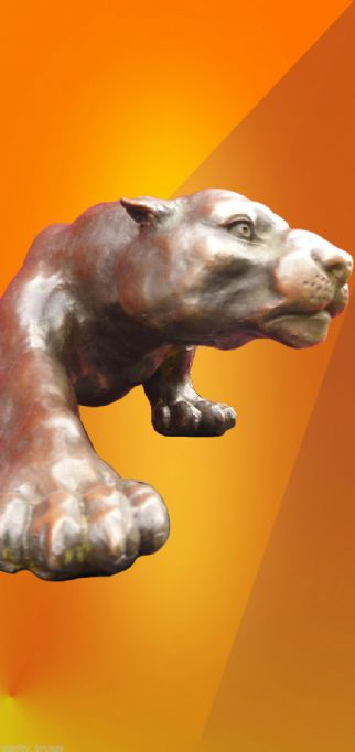 LARGE, HUNTING PANTHER ,  BRONZE STATUE,